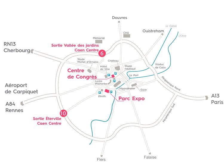 Plan d'accès Parc Expo - Centre de Congrès - Caen Event